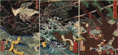 『椿説弓張月』より 崇徳上皇が讃岐で崩御し、怨霊になる瞬間を描いた一場面・歌川芳艶画